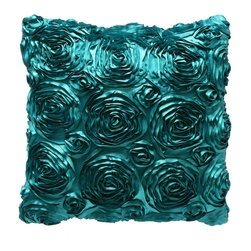 Brandi Renee Designs - Rosalee Teal Ribbon Rose Pillow - Make a grand style statement with this floral accent pillow. It comes with a lush polyfill insert, so it's great for additional comfort and support. Place on the bed or sofa, it definitely stands out and lends a pop of vibrant color. The ribbon rose fabric offers textural versatility and a subtle sheen with visual intrigue. You can't go wrong with a splash of bold color!