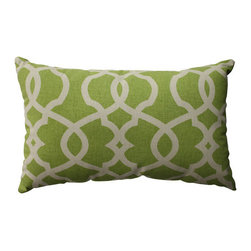 Pillow Perfect - Lattice Damask Green, Beige Pillow - - Pillow Perfect Lattice Damask Leaf Rectangular Throw Pillow  - Sewn Seam Closure  - Spot Clean Only  - Finish/Color: Green/Beige  - Product Width: 18.5  - Product Depth: 11.5  - Product Height: 5  - Product Weight: 0.5  - Material Textile: 100% Cotton  - Material Fill: 100% Recycled Virgin Polyester Fill Pillow Perfect - 512761