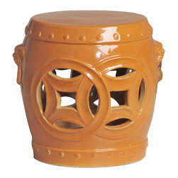 Kathy Kuo Home - Double Fortune Tangerine Orange Pierced Asian Garden Seat Stool - Traditionally used in China as tea tables- these garden stools make a perfect addition to your living space as side tables, or clustered together to be used as a coffee table.  Glazes are triple fired for added luster and shine.  With a hand made product, glaze variations of up to 10% is to be expected.