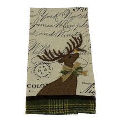 Xia Home Fashions - Reindeer With Applique Suede Collection Tea Towel, 16x22 - A majestic Christmas reindeer is embroidered on printed fabric with ribbon and green tartan accents. An enchanting linens collection! Handwash cold water, no bleach, lay flat to dry. Light iron as needed.