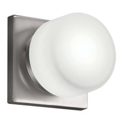 """Kichler - Kichler 1-Light Bath Fixture - Brushed Nickel - One Light Bath Fixture From the circa collection, this energy efficient lighting wall sconce features a beautiful circular opal white glass shade that is accentuated by the crisp look of the brushed nickel finish. Ada compliant. Back plate width: 4. 88"""" sq. Height from center outlet: 2. 5"""""""