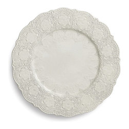 Frontgate - Merletto Set of Two Lace Charger Plates - Antique White - Each charger is handcrafted by skilled artisans. Rich black clay is embossed with an intricate vintage lace pattern and given a delicate antique white glaze. Merletto Collection pieces blend effortlessly together and with other tableware in seemingly endless combinations of form, texture, and color. Microwave, oven, and dishwasher safe on low-heat/air-dry setting. Create an elegant place setting with layers of texture and form starting with the Merletto Lace Charger by Arte Italica. These handcrafted chargers enhance your dining with old-world splendor while protecting your tabletop.  .  .  .  . Handmade in Italy.