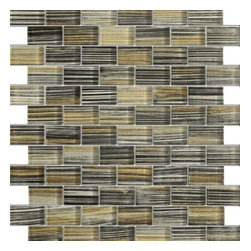 Zephyr Black & Beige Pinstrip Glossy Bricks Pattern Glass Mosaic Tiles, Sheet - 1 in. x 2 in. Zephyr Black & Beige Pinstrip Mesh-Mounted Bricks Pattern Glass Mosaic Tile is a great way to enhance your decor with a traditional aesthetic touch. This Glossy Mosaic Tile is constructed from durable, impervious Glass material, comes in a smooth, unglazed finish and is suitable for installation on floors, walls and countertops in commercial and residential spaces such as bathrooms and kitchens.