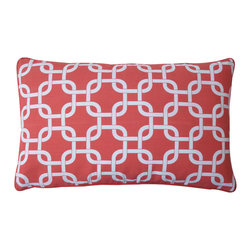 JITI - Small Mechanical Red Cotton Pillow - Break the chain of boring throw pillows. Take your style up a notch with this radiant red chain-link print cotton pillow with feather and down insert. It's an ideal accent for your white sofa or bedding.