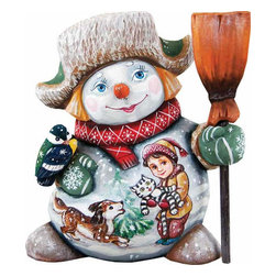 """Artistic Wood Carved Friends Forever Snowman Sculpture - Measures 6.5""""H x 3.5""""L x 3.25""""W and weighs 1 lb. G. DeBrekht fine art traditional, vintage style sculpted figures are delightful and imaginative. Each figurine is artistically hand painted with detailed scenes including classic Christmas art, winter wonderlands and the true meaning of Christmas, nativity art. In the spirit of giving G. DeBrekht holiday decor makes beautiful collectible Christmas and holiday gifts to share with loved ones. Every G. DeBrekht holiday decoration is an original work of art sure to be cherished as a family tradition and treasured by future generations. Some items may have slight variations of the decoration on the decor due to the hand painted nature of the product. Decorating your home for Christmas is a special time for families. With G. DeBrekht holiday home decor and decorations you can choose your style and create a true holiday gallery of art for your family to enjoy. All Masterpiece and Signature Masterpiece woodcarvings are individually hand numbered. The old world classic art details on the freehand painted sculptures include animals, nature, winter scenes, Santa Claus, nativity and more inspired by an old Russian art technique using painting mediums of watercolor, acrylic and oil combinations in the G. Debrekht unique painting style. Linden wood, which is light in color is used to carve these masterpieces. The wood varies slightly in color."""