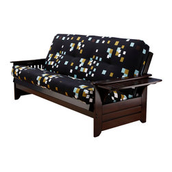 Kodiak Furniture - Phoenix Espresso Futon Frame with Futon Mattress in Modern Blocks, Without Full - The Phoenix futon set features frame made of solid wood in Espresso finish and innerspring mattress in cover with Modern Blocks pattern. The side arms can be flipped up to open convenient trays for placing any necessary things. Available with or without drawers.