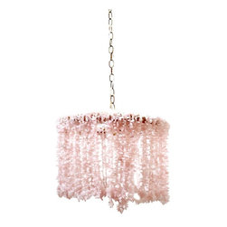 "ro sham beaux - Lily Quartz Chandelier - Pink - 18"" - An elegant and glam light fixture, the Lily chandelier delivers a striking accent to a living room or dining room. Hanging from a hemp-wrapped round frame, quartz beads delight with cascading arrangements for a stunning look. Brass accents. Accepts two 60W type B bulbs (not included). Hardwired. Chain and canopy included"