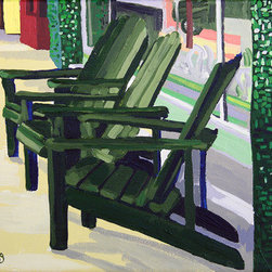 Green Chairs (Original) by Melinda Patrick - These chairs actually match the green color of the mosaic tiles they're sitting next to in Mineola, Texas. Mineola is covered up in Adirondack chairs and these are probably the only ones that aren't white.