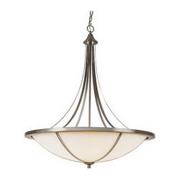 Brushed Nickel And White Frosted Glass 8 Light Chandelier/Pendant - Condition: New - in box
