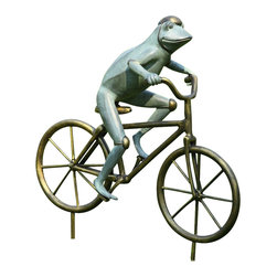 "SPI - Frog on Bicycle Garden Sculpture - -Size: 27"" H x 22.5"" W x 7.5"" D"
