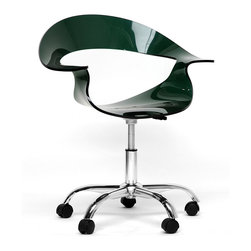 Baxton Studio - Elia Dark Acrylic Modern Swivel Chair - For those looking for an ultra-modern office chair or modern dining chair, this design will not disappoint. Starring features include a transparent acrylic seat with a steel grey/deep green tint, 360-degree swivel and adjustable height.