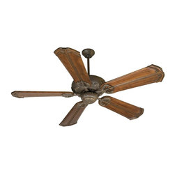Craftmade - Cordova 56 in. Fan in Aged Bronze w Custom Carved Chamberlain Blades - Fan Specs:. Heavy-Duty, 3 Speed Reversible Motor. 2 in. and 6 in. Downrods (Included). Meets Energy Star Energy Efficiency Standards. Number of Fan Blades: 5. Blade Pitch: 14°. Motor Size: 188 x 15mm. High Speed Amps: 0.7. RPM (Hi-Med-Low): 210-120-78. Airflow (Cubic FT/MIN): 6419. Electricity Use: 78 Watts. Airflow Efficiency (Cubic FT/Min/Watt): 82. Blade Specs:. Blade Length: 56 in.. Suitable for Damp Locations