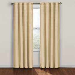 Eclipse - Twist Ivory 63-Inch Thermalayer Blackout Window Curtain Panel - - Experience the darkness, silence and beauty of Eclipse? curtains. Eclipse blackout panels have been laboratory-tested to block out over 99% of intrusive light, unwanted noise and can help you save on home heating and cooling costs. Eclipse curtains offer a unique blend of fashion and function for any home decor. Transform your media room into the ultimate home theater experience, or create ambiance in your dining area. National Sleep Foundation studies show that reduced light and noise are optimal for a better night?s sleep. Eclipse Curtains are perfect for the bedroom, kid?s room or nursery, providing the ideal sleep environment for the whole family. The magic is in the Thermalayer? construction. The innovative triple-layer design allows you to enjoy all of the light-blocking, noise reducing and energy saving benefits, while providing the same fashionable style and elegance of naturally flowing curtains. Hang two or more curtain panels on a standard or decorative rod for optimal coverage and desired effect. Sold as a single panel that can be featured as rod-pocket or backtab. Panel measures 42-Inch wide by your choice of 63, 84, or 95-inch long. Elegantly fabric offers an intricately woven tone-on-tone horizontal stripe effect, enhanced with a subtle sheen and raised loop stitching. Available in blue, heathered plum purple, ivory, sage green, and toffee tan. 3? rod pocket fits up to a 2.5? curtain rod.  - Rods, and hardware sold separately.  - 100% Polyester.   - Machine wash gentle cycle, tumble dry, do not bleach. Imported.  Eclipse - 11354042X063IVY
