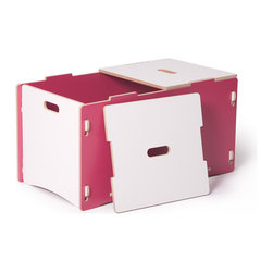 Quark Enterprises - Toy Box, Pink and White - A big toy box is an essential in a playroom. Parents appreciate anything that makes cleanup and organization with kids easier, right? Plus, this is one that kids can open and close themselves without risking pinched fingers.