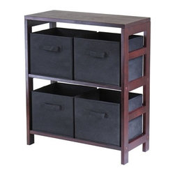 Winsome Trading, INC. - Winsome Wood Capri Section Shelf Accent Cabinet - 92261, Espresso/Black - This storage shelf comes with 4 foldable black fabric baskets. Warm Walnut finish storage shelf is perfect for any room in your home. Use it alone as bookcase/shelf or with baskets for a complete storage function. Assembly required for shelf. Height 29.25 Color Black Finished Dark Wood