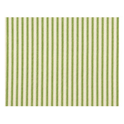 "Close to Custom Linens - 30"" Tailored Tiers, Unlined, Ticking Stripe Apple Green - The cool, two-tone design of these custom-made curtains will bring a vertical vibe to any window in your home. Enhance the feeling with a matching ticking stripe valance."
