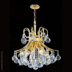 Worldwide Lighting Empire Chandelier W83039G16 - Worldwide Lighting Empire Collection 6 light Gold Finish and Clear Crystal Mini Chandelier