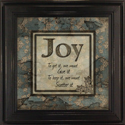 MyBarnwoodFrames - Joy To Get It We Must Give It Framed Wall Quote - This  wall  decor  quote  is  a  great  reminder  that  to  feel  joy  in  our  life,  we  must  spread  joy  to  others.  What  great  words  of  wisdom  to  display  in  a  home  or  office.  Printed  in  blue-green  hues,  this  8x8  quote  is  framed  in  a  black  wood  frame.  If  you  are  looking  for  the  perfect  accessory,  this  is  it!  Hand  distressed  edges.