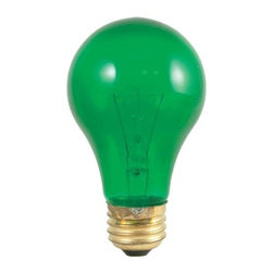 Bulbrite - Transparent Incandescent Bulbs in Green - 24 - One pack of 24 Bulbs. 120V A19 standard E26 medium base bulb. 360 degrees beam spread. Vibrant transparent colored party bulbs. Fade-resistant coating. Great for adding a touch of color to any fixture. Great for sign, display, amusement and theater. Lamps may vary in color when lit. Dimmable. Average hours: 2500. Color temperature: 2700 K. Color rendering index: 100. Wattage: 25 watt. Maximum overall length: 4.25 in.