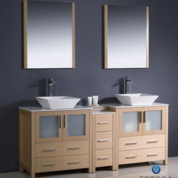 "Fresca - Fresca Torino 72"" Modern Double Sink Bathroom Vanity w/ One Side Cabinet & Two V - Fresca is pleased to usher in a new age of customization with the introduction of its Torino line. The frosted glass panels of the doors balance out the sleek and modern lines of Torino, allowing it to fit perfectly in both 'Town' and 'Country' décor.The Fresco Torino bathroom vanity is 72"" wide and 35.63"" high, and boasts 18.13"" deep under-sink storage space – perfect for towels and other bathroom necessities. This bathroom vanity is completed with a 25.5"" wide x 31.5"" high x 1.25"" deep wall mounted mirror for optimal function and style.Items included: Main Vanity Cabinet(s), Countertop(s), Vessel/Integrated Sink(s), Mirror(s), Faucet(s), P-Trap and Pop-Up Drain(s), Standard hardware needed for installation.DecorPlanet is proud to offer Fresca Bathroom products. Fresca is a leading manufacturer of high-quality vanities, accessories, toilets, faucets, and everything else to give you the freshest bathroom in the neighborhood. Fresca is known for carrying the latest and most popular styles in modern and contemporary bathroom design that are made with high quality materials and superior workmanship."
