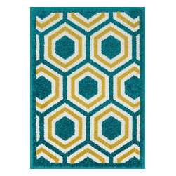 "Loloi Rugs - Loloi Rugs Terrace Collection - Peacock / Citron, 2'-5"" x 3'-9"" - Bold design and bright colors come together beautifully in the outdoor-friendly Terrace Collection. Each Terrace rug is power loomed in Egypt of 100% polypropylene that's specially treated to withstand rain and UV damage without staining or fading color.�"