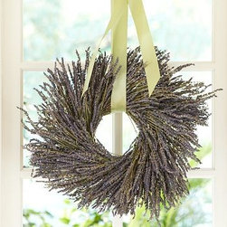 """Dried Lavender Wreath - Our handmade French lavender wreath makes a natural gift that showcases the vibrant purple color and soft fragrance for which the flower is known.16"""" diameter Wire ring base. Lavender is grown in Northern California. Hangs on its own or with a ribbon (not included).Internet only."""