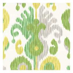 Green Ikat Indoor Outdoor Fabric - Oversized outdoor ikat that will make a big (literally!) splash in clean, bright shades of green, yellow & gray.Recover your chair. Upholster a wall. Create a framed piece of art. Sew your own home accent. Whatever your decorating project, Loom's gorgeous, designer fabrics by the yard are up to the challenge!