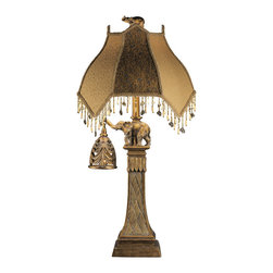 """Signature Design by Ashley - 31"""" Dillan Bronze Elephant Set of 2 Lamps - A set of two: Bronze """"elephant holding a bell"""" night light table lamps."""
