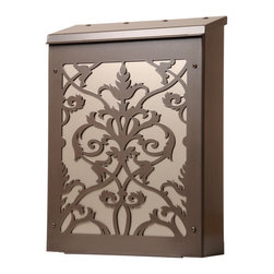 Modular Damask Mailbox - Interesting modular mailbox with a Damask Design by Blink.  Photo shows dark bronze box with nickel color panel behind the design.