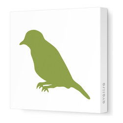 "Avalisa - Silhouette - Bird Stretched Wall Art, 18"" x 18"", Grass -"