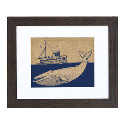 Fiber and Water - Ship & Whale - A great depiction of a fisherman's ship spotting a humpback whale diving into the depths of the sea. This hand-printed piece of art has beautiful texture from a combination of natural burlap and water-based paints. Framed in a wooden, distressed black frame and made in the U.S.A.