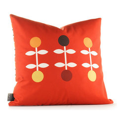 """Inhabit - Aequorea Giggle Pillow in Scarlet - Features: -Aequorea collection. -Made from 100% sustainable recycled polyester. -Handprinted and handmade in the USA. -Environmentally-friendly inks with no chemical waste or disposal generated. -Recyclable at the end of its life-cycle. -Zipper closure for easy removal and cleaning. -Pillow inserts are 95% feather / 5% down. Specifications: -Material: Polyester. -Available sizes:. -18"""" H x 18"""" W. -13"""" H x 24"""" W."""