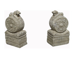 "Golden Lotus - Pair Chinese Antique Hand Carving Drum Marble Fen Shui Foo Dogs Statue - This is a beautiful pair of white stone foo dog.  Its carving is very detail.  Especially, the Foo Dog is standing at top of a drum. You can put this pair of foo dog at the front of your garden.  In Chinese culture, the ""Fen Shui"" foo dog can protect the people who are living the house."