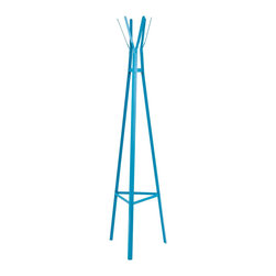 """Southern Enterprises Inc - Southern Enterprises Inc Heights Hall Tree-Berry Blue X-1847EH - Bring a creative, modern sense of style to your home with this metal hall tree. The contemporary design and bright blue finish make this hall tree a delightful, playful addition for any home. Clean, modern lines and simple design merge in this playful hall tree. The triangular base tapers up to the top, creating a pyramid. The shape provides stability and design, while the six hanging hooks project from the top in a decorative flourish. This metal hall tree is perfect for homes with contemporary and modern d&#233:cor. Add this hall tree to your entryway, hall, or any spot you hang your hat! Please note: Our photos are as accurate as possible, but color discrepancies may occur between the product and your monitor. The handcrafted touch of artisan skill also creates variations in color, size and design: slight differences should be expected. - 17.25"""" W x 15.75"""" D x 65.25"""" H - Includes 6 hooks for hanging coats and accessories - Base: equilateral triangle with 17.25"""" long sides - Berry blue finish - Supports up to 10 lb. per hook - Constructed of metal with powder-coated finish - Assembly required"""