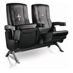 Dreamseat Inc. - Ford Mustang Tri-Bar Row One VIP Theater Seat - Single - Please note: This item is the single chair, not multiple as shown in the photo. We do not have photos of an individual chair by itself. Check out this fantastic home theater chair. This is the same seat that is in the owner's VIP luxury boxes at the big stadiums. It has a rocker back and padded seat, so it's unbelievably comfortable - once you're in it, you won't want to get up. Features a zip-in-zip-out logo panel embroidered with 70,000 stitches. Converts from a solid color to custom-logo furniture in seconds - perfect for a shared or multi-purpose room. Root for several teams? Simply swap the panels out when the seasons change. This is a true statement piece that is perfect for your Man Cave, Game Room, basement or garage.