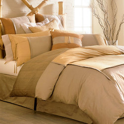 Asiana Bedding Collection - In the Asiana Bedding Collection, the warm, subdued beauty of a woodland warmed by the sun's rays is finely presented. A soothing palette of taupe, bronze, copper, and pewter blends earthen naturalism with a touch of metallic shimmer. Placed within a master suite or guest bedchamber, the collection bestows a serene and natural prettiness  that blends harmoniously with your transitional decor.