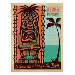 Anderson Design Group - Coastal Collection: Tiki Time Gallery Print - The Coastal Collection is breezy, casual, whimsical and nostalgic. Inspired by vintage nautical travel posters, we've set out to create a collection of brand new designs that will make you as happy as if you were sitting on the coast. Printed on gallery-grade matte-finished paper, this print is sure to add a breezy, nostalgic charm to any home or office wall. Original, hand-illustrated design from Anderson Design Group in Nashville, TN.