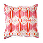 """Rhadi Living - Medallion Pillow Eurosham 26x26"""" Pink/Orange - Inspired by ikat and medallion block prints, this medallion, ikat and zig zag design repeats randomly over a great expanse of white in two color ways.  The print catches your eye as you try to follow the mesmerizing patchwork and repeat. Each quilt and sham is handmade, hand printed with cotton voile and cotton batting. Machine wash cold separately, delicate cycles, tumble dry low, do not bleach, iron at medium setting if necessary."""