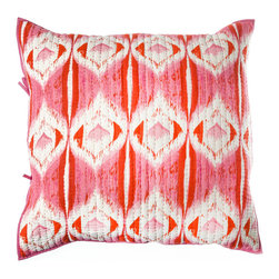 "Rhadi Living - Medallion Pillow Eurosham 26x26"" Pink/Orange - Inspired by ikat and medallion block prints, this medallion, ikat and zig zag design repeats randomly over a great expanse of white in two color ways.  The print catches your eye as you try to follow the mesmerizing patchwork and repeat. Each quilt and sham is handmade, hand printed with cotton voile and cotton batting. Machine wash cold separately, delicate cycles, tumble dry low, do not bleach, iron at medium setting if necessary."