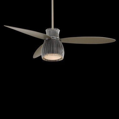 Minka Aire F824 56in. Uchiwa Ceiling Fan - Gone are the big clunker blades with the blinding dome light where dead bugs collect. This modern ceiling fan is an object you'll actually admire in your home. Think of it as a modern chandelier that adds a nice breeze.