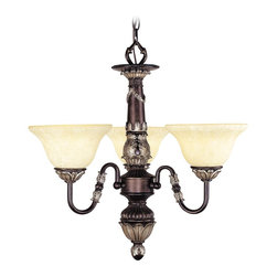 Livex Lighting - Livex Lighting 8303 Chandelier - Hand Rubbed Bronze with Antique Silver Accents - Bulb Base: Medium (E26). Bulb Count: 3. Bulbs Not Included