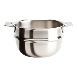 "Cristel - Cristel Strate L Brushed Stainless Bain Marie Insert 7.9"" - The base is made out of an alloy of stainless steel and aluminum. The heat is simultaneously spread over the whole surface of the base and sides. For gentle, economic cooking with no risk of sticking and protecting all the nutritional qualities of food. Multicooking: suitable for all cooking cooktops; can also be placed on the oven (with or without the lid). Body in 18/10 brushed finish stainless steel. Handles in comfortable stainless steel, welded to the saucepans and riveted to the pans. Can be hung up by the handle for easy storage.Inside grading. Dishwasher safe.. Made in France."