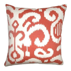 """The Pillow Collection - Teora Ikat Pillow Flame 18"""" x 18"""" - This 95% soft cotton and 5% linen pillow provides comfort and aesthetics in your home design. The square pillow features a traditional ikat print pattern combined with Flame hues in white and red. The beautiful print and the bold color makes this decor pillow an ideal accent piece in your bed or other home furnishings. Hidden zipper closure for easy cover removal.  Knife edge finish on all four sides.  Reversible pillow with the same fabric on the back side.  Spot cleaning suggested."""