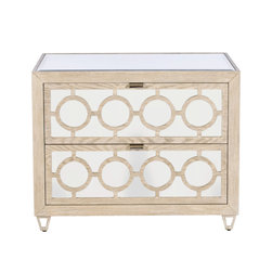 Worlds Away - Worlds Away Barkley Limed Oak Chest - Two Drawer Chest in Limed Oak with Plain Mirror in behind drawers and inset beveled mirror top. Drawers are on glides.