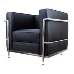 "Serenity Living Stores - Le Corbusier LC2 Style ArmChair - Aniline Leather , Black - Our LC2 line reproduction was inspired by Le Corbusier's original design back in the 1920's. Charles-Edouard Jeanneret-Gris better known as Le Corbusier, introduced the LC2 line for two of his project ""The Maison la Roche in Paris� and pavilion for Barbara and Henry Church. Our LC2 furniture line is true to the original design; we offer superiors quality leathers and craftsmanship. A lot of reproduction companies out there use fake leather or vinyl on their products and lower grade steel which will bend and chip over time. We offer multiple colors on all of our products, and our stainless steel is hand polished to a mirror finish.                                                                                                                                                                                                                      Overall Dimensions: 26.4"" H x 29.9""L x 27.5"" D"