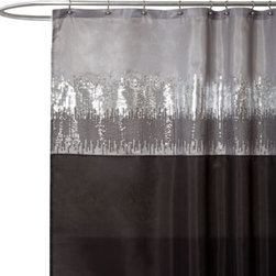 Triangle Home Fashions - Night Sky Black and Grey 72-Inch x 72-Inch Shower Curtain - Modernize the look of your bathroom with this stunning shower curtain featuring two-tone sequins in gray and black. The sequins cascade down from top to the bottom like falling stars.