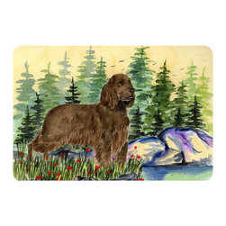 Caroline's Treasures - Field Spaniel Kitchen or Bath Mat 24 x 36 - Kitchen or Bath Comfort Floor Mat This mat is 24 inch by 36 inch. Comfort Mat / Carpet / Rug that is Made and Printed in the USA. A foam cushion is attached to the bottom of the mat for comfort when standing. The mat has been permanently dyed for moderate traffic. Durable and fade resistant. The back of the mat is rubber backed to keep the mat from slipping on a smooth floor. Use pressure and water from garden hose or power washer to clean the mat. Vacuuming only with the hard wood floor setting, as to not pull up the knap of the felt. Avoid soap or cleaner that produces suds when cleaning. It will be difficult to get the suds out of the mat.