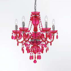 AF Lighting - Fulton Hot Pink Chandelier By Angelo Home - - Chandelier 5 light in hot pink, 23 H X 21  - 5 D  - Made of plastic dripping with tear drops and beads  - Can be hardwired or swag  - Simple assembly required  - Due to hand crafting, no 2 alike  - Portable lamps that are not fluorescent or non LED that are shipping to California will include compatible fluorescent bulb(s) AF Lighting - 8524-5H