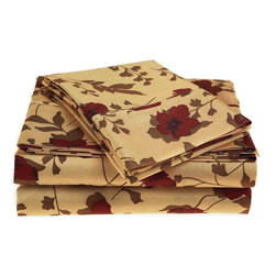 Microfiber Leaves Sheet Set - Twin XL - Burgundy - These Microfiber Sheets offer an affordable alternative to high thread count cotton sheets. Microfibers are 100 times thinner than a strand of hair making the weave impenetrable to allergens and dust mites. This Sheet set features a remarkable elm leaf and floral pattern on a cream colored backdrop. Each set comes with one fitted sheet, one flat sheet, and two pillowcases (one for Twin and Twin XL).