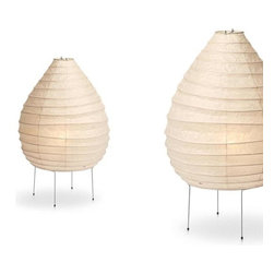 Noguchi Lamp 22N/23N by Akari Lamps - Akari Noguchi 22N Table and 23Floor Lamp is an Akari Light Sculpture Designed by Isamu Noguchi. Modern during the post war era. Isamu Noguchi created an icon in the 50's. the lights have been in production for over 50 years and are still made by the same company in Japan using the traditional methods for creating japanese paper lanterns. The 22N/23N are made from the famous washi paper and fabricated by Hand in Japan.